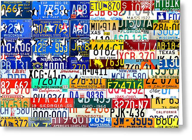 Scrap Greeting Cards - American Flag Scrap Metal Recycled License Plate Art of the 50 States Greeting Card by Design Turnpike