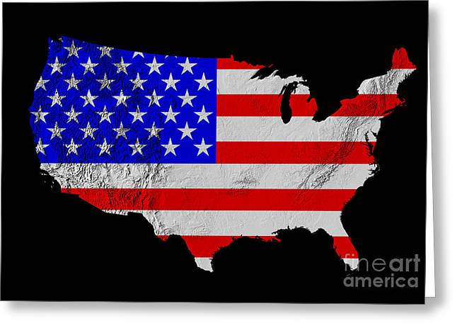 Relief Map Greeting Cards - American Flag Seen on US Shaded Digital-relief Map Greeting Card by Usgs