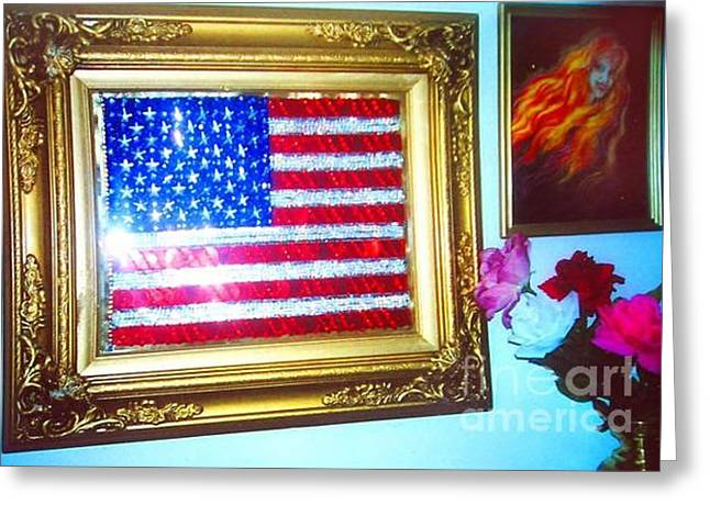 Landmarks Jewelry Greeting Cards - American flag sequined beaded in gold frame Greeting Card by Sofia Metal Queen