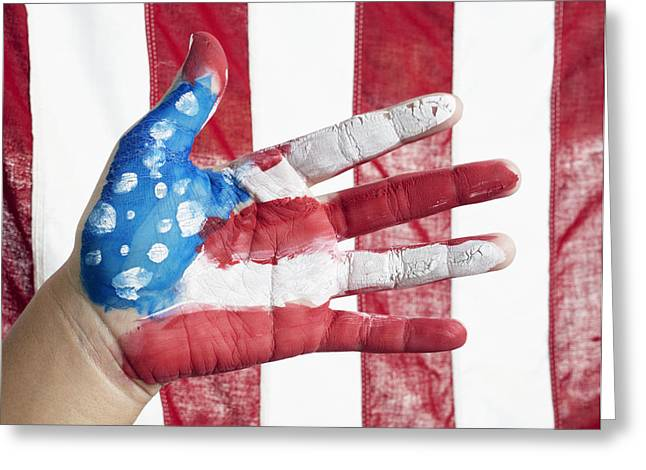 Labor Day Greeting Cards - American Flag Greeting Card by Skip Nall