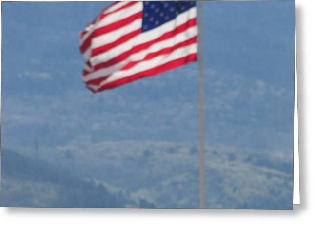 American Flag Star Valley Greeting Card by Shawn Hughes