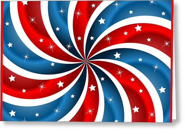 4th July Digital Art Greeting Cards - American flag stars and swirly stripes Greeting Card by Toots Hallam