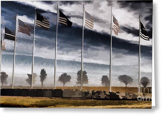 Constitutional Convention Greeting Cards - American Flag Still Standing Greeting Card by Luther   Fine Art