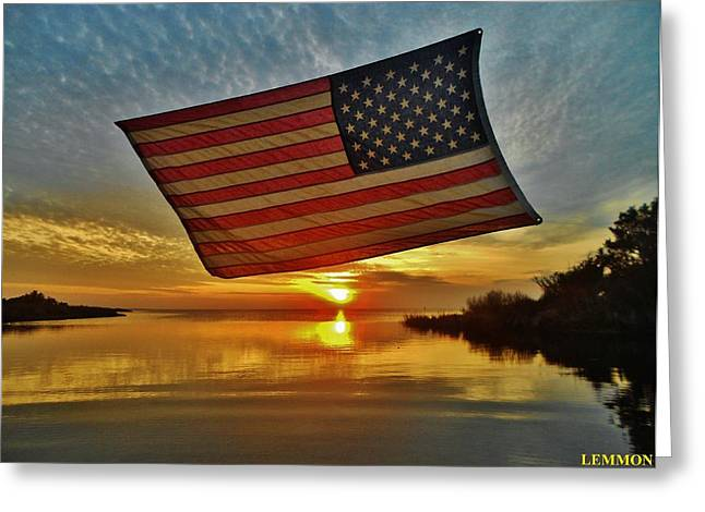 Sailboat Ocean Greeting Cards - American Flag Sunset 14 2/18 Greeting Card by Mark Lemmon