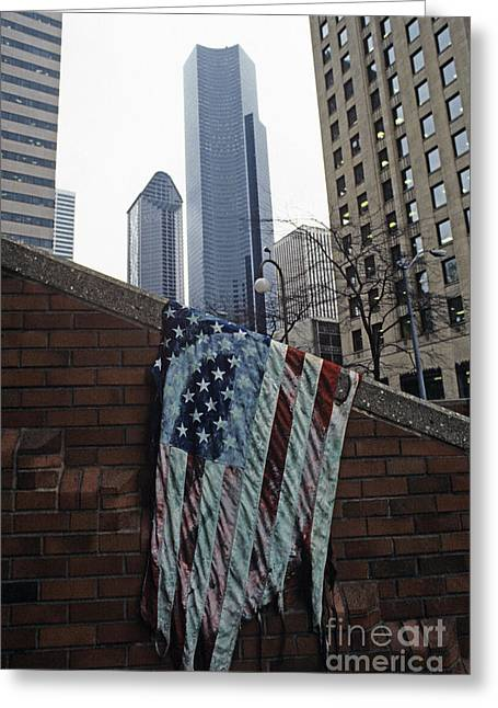 Free Speech Photographs Greeting Cards - American Flag Tattered Greeting Card by Jim Corwin