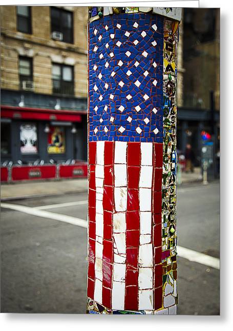 Tiled Greeting Cards - American Flag Tiles Greeting Card by Garry Gay