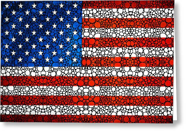 American Flag - Usa Stone Rock'd Art United States Of America Greeting Card by Sharon Cummings