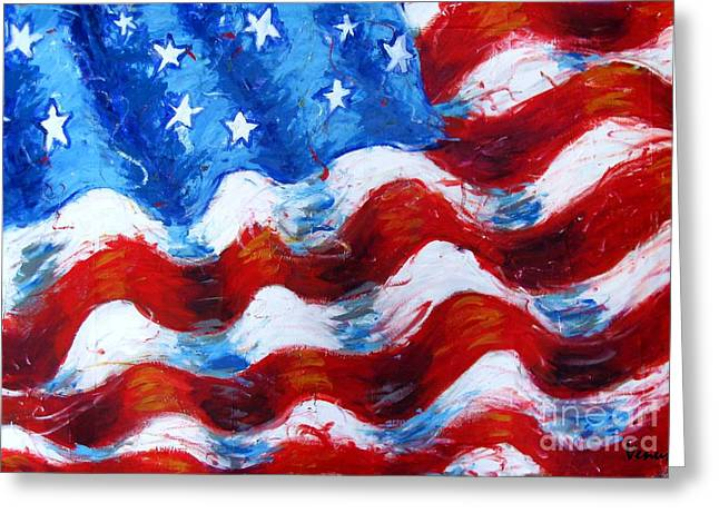 American Independance Mixed Media Greeting Cards - American Flag Greeting Card by Venus