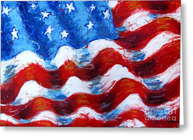 Recently Sold -  - American Independance Mixed Media Greeting Cards - American Flag Greeting Card by Venus
