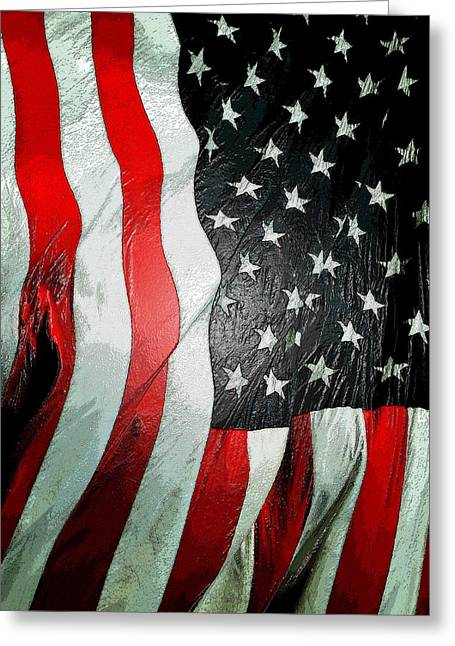 Stars And Strips Greeting Cards - American Flag vertical Greeting Card by David Lee Thompson