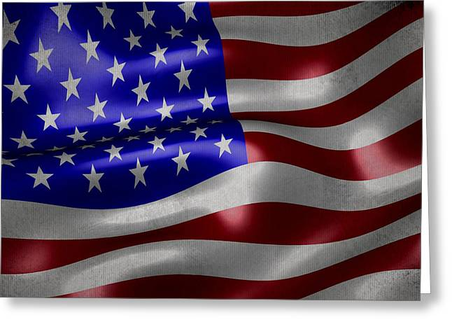 White Cloth Mixed Media Greeting Cards - American flag waving on canvas Greeting Card by Eti Reid