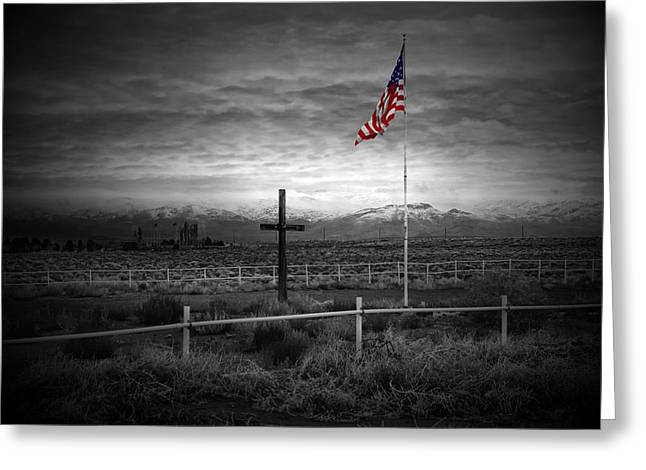Funeral Greeting Cards - American Flag with Cross Greeting Card by Scott McGuire