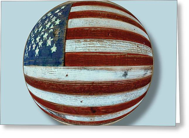 American Pop Culture Greeting Cards - American Flag Wood Orb Greeting Card by Tony Rubino