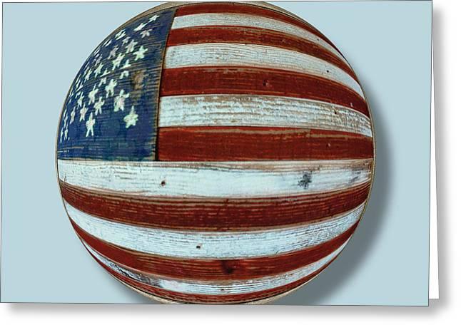 Warp Mixed Media Greeting Cards - American Flag Wood Orb Greeting Card by Tony Rubino