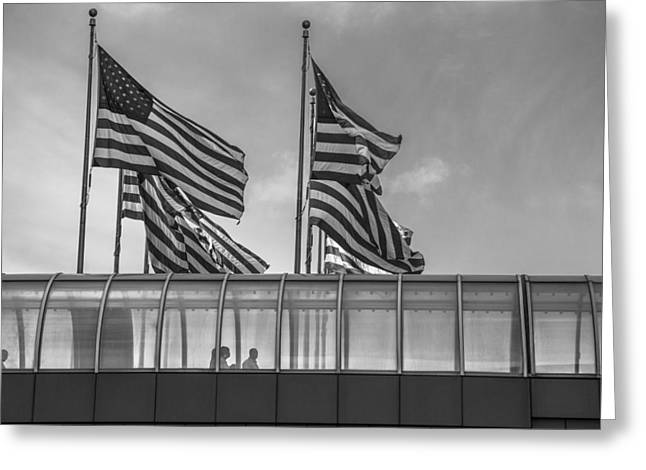 Renaissance Center Greeting Cards - American Flags at Renaissance Center in Detroit Greeting Card by John McGraw