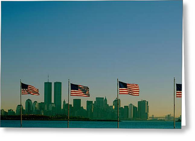American Flag Photography Greeting Cards - American Flags In A Row, New York City Greeting Card by Panoramic Images