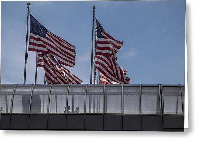 Renaissance Center Greeting Cards - American Flags in Detroit  Greeting Card by John McGraw