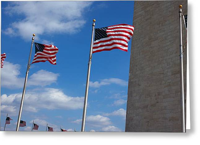 American Flag Photography Greeting Cards - American Flags In Front Of An Obelisk Greeting Card by Panoramic Images