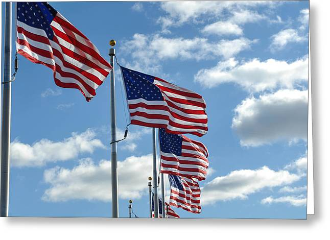 4th July Photographs Greeting Cards - American Flags in the Wind Greeting Card by Brandon Bourdages