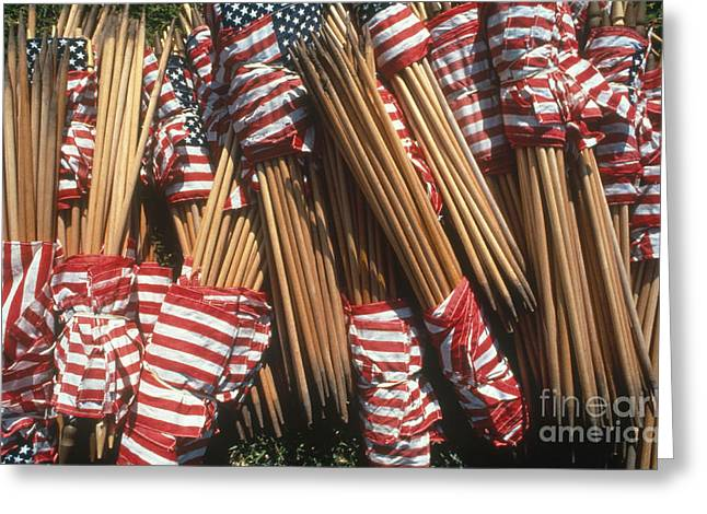 Patriotic Greeting Card Greeting Cards - American Flags Greeting Card by Joseph Sohm ChromoSohm Media Inc
