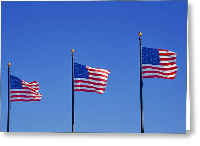Flags Flying Greeting Cards - American Flags - Navy Pier Chicago Greeting Card by Christine Till