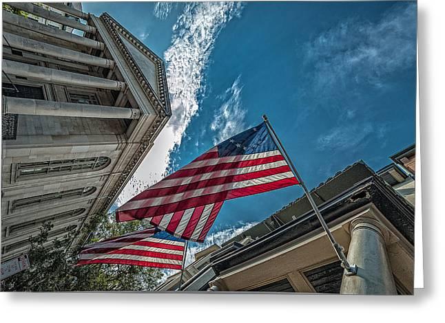 Patriotic Savannah Greeting Cards - American flags Greeting Card by Oleg Koryagin