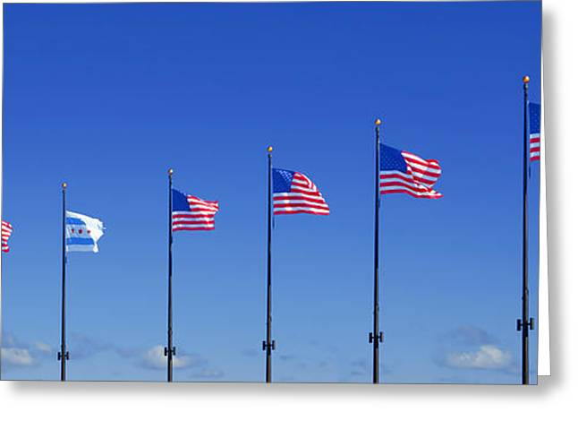 Flags Flying Greeting Cards - American Flags on Chicagos famous Navy Pier Greeting Card by Christine Till