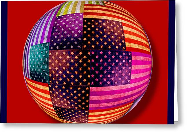 American Pop Culture Greeting Cards - American Flags Orb Greeting Card by Tony Rubino