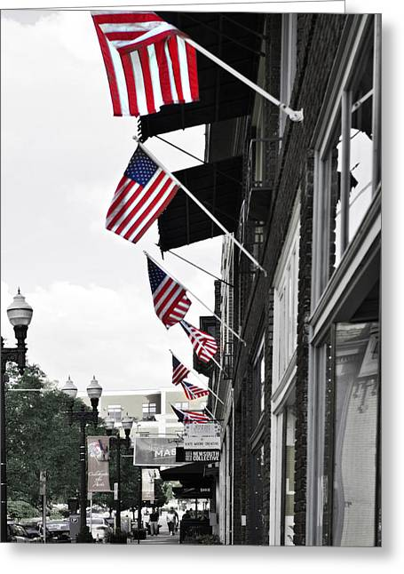 Stars And Strips Greeting Cards - American Flags Greeting Card by Sharon Popek
