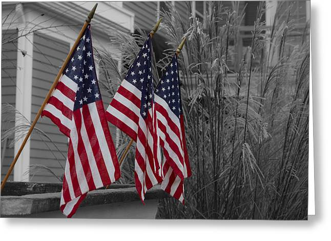 4th July Photographs Greeting Cards - American Flags - Selective Color Greeting Card by Kirkodd Photography Of New England