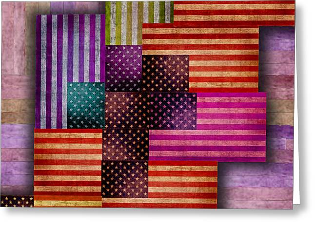 Patch Quilts Greeting Cards - American Flags Greeting Card by Tony Rubino