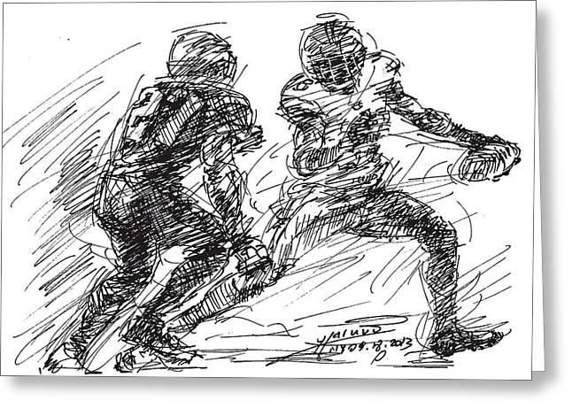 Americans Drawings Greeting Cards - American Football 4 Greeting Card by Ylli Haruni