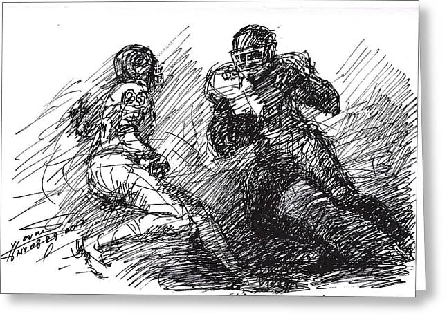 Americans Drawings Greeting Cards -  Football  Greeting Card by Ylli Haruni
