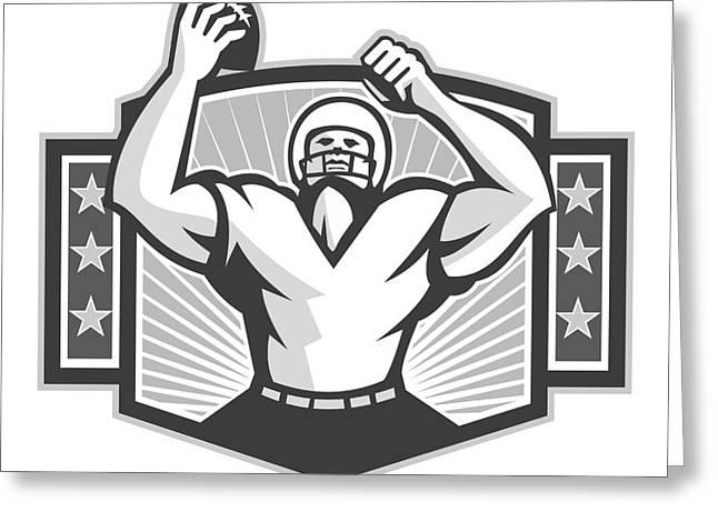 American Football Celebrating Touchdown Grayscale Greeting Card by Aloysius Patrimonio