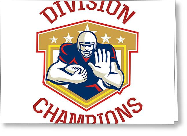 Tailback Greeting Cards - American Football Division Champions Shield Greeting Card by Aloysius Patrimonio