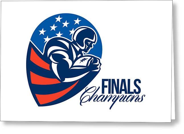 American Football Finals Champions Retro Greeting Card by Aloysius Patrimonio