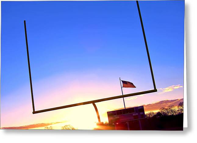 Goalpost Greeting Cards - American Football Goal Posts Greeting Card by Olivier Le Queinec