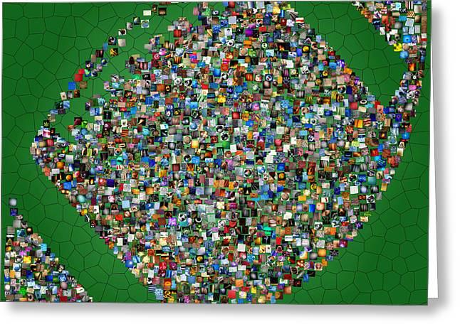 Interior Still Life Digital Greeting Cards - American Football Mosaic Greeting Card by Yury Malkov