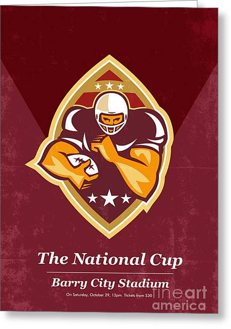 Tailback Greeting Cards - American Football National Cup Poster Art Retro Greeting Card by Aloysius Patrimonio