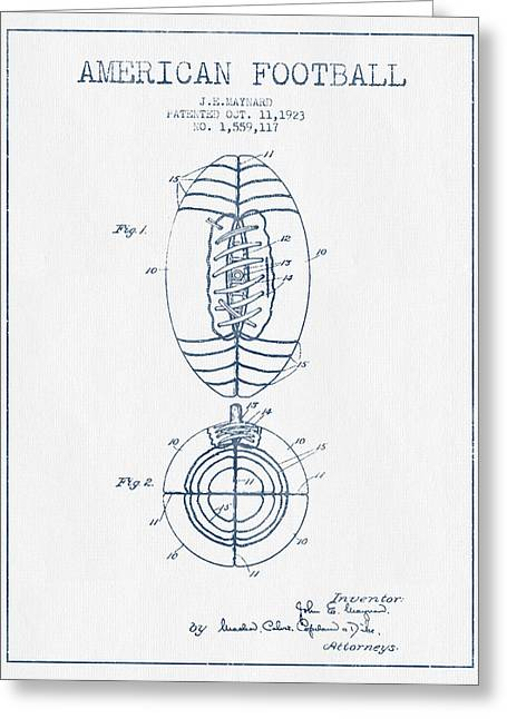 American Football Patent Drawing From 1923 - Blue Ink Greeting Card by Aged Pixel