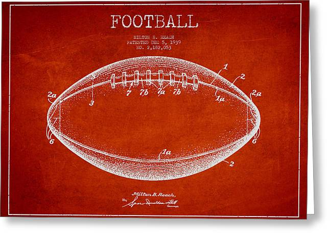 Football Digital Art Greeting Cards - American Football Patent Drawing from 1939 Greeting Card by Aged Pixel