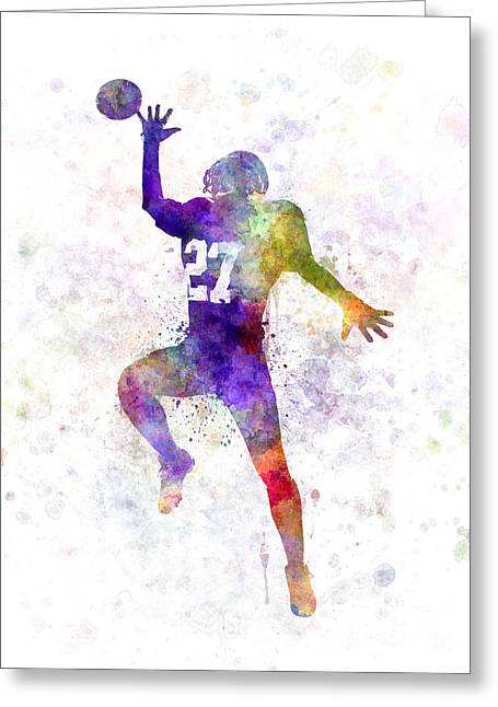American Football Paintings Greeting Cards - American Football Player Man Catching Receiving Greeting Card by Pablo Romero