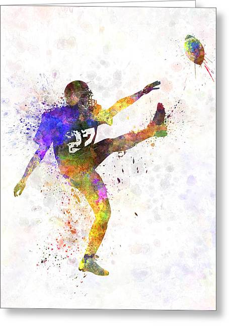 American Football Paintings Greeting Cards - American Football Player Man Kicker Kicking Greeting Card by Pablo Romero
