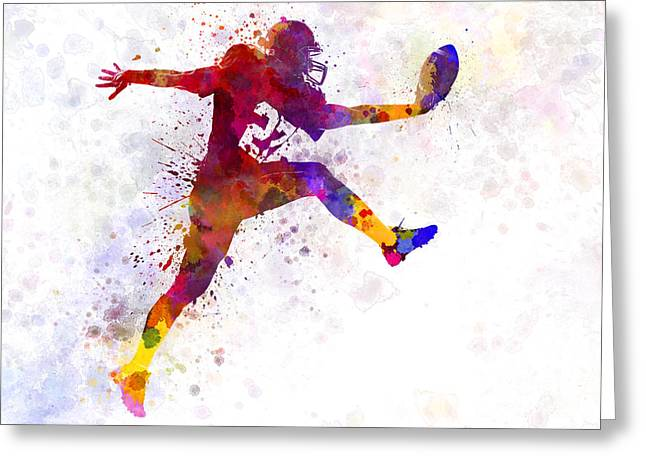 Sports Uniform Greeting Cards - American Football Player Man Scoring Touchdown Greeting Card by Pablo Romero