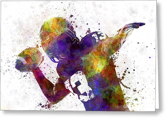 American Football Paintings Greeting Cards - American Football Player Quarterback Passing Portrait Silhouette Greeting Card by Pablo Romero