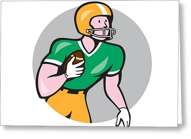 Tailback Greeting Cards - American Football Player Rusher Circle Retro Greeting Card by Aloysius Patrimonio
