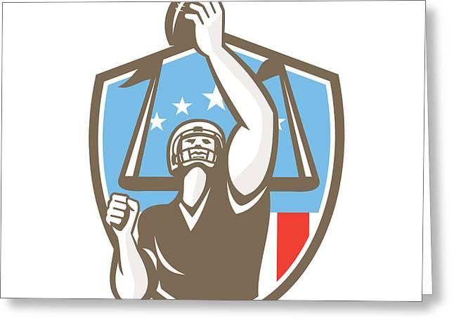 Goal Post Greeting Cards - American Football Player Touchdown Goal Post Retro Greeting Card by Aloysius Patrimonio