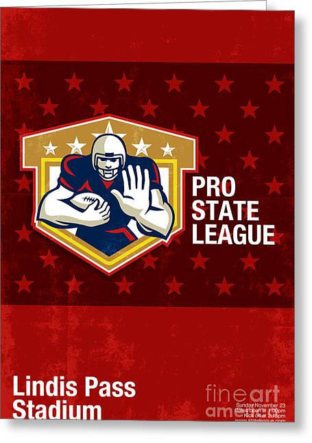 Tailback Greeting Cards - American Football Pro State League Poster Art Greeting Card by Aloysius Patrimonio