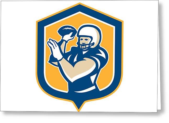 Throwing Digital Greeting Cards - American Football QB Throwing Shield Retro Greeting Card by Aloysius Patrimonio