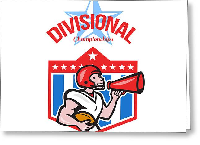 Divisional Greeting Cards - American Football Quarterback Divisional Champions Greeting Card by Aloysius Patrimonio